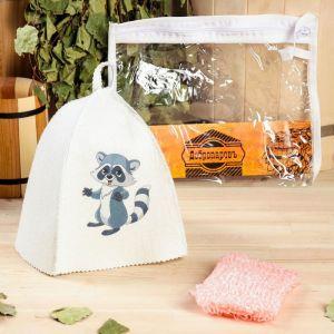 """Набор для бани детский """"Енот"""" в косметичке: шапка с принтом, мочалка"""