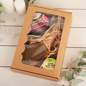 Подарочный набор: скраб грейп, крем помело, щетка для массажа щетина натуральная. 4873790