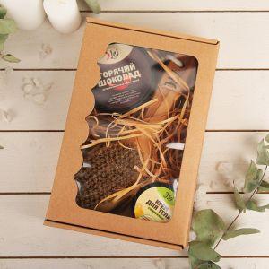 Подарочный набор: скраб шоколад, крем помело, щетка для массажа щетина натуральная. 4873793