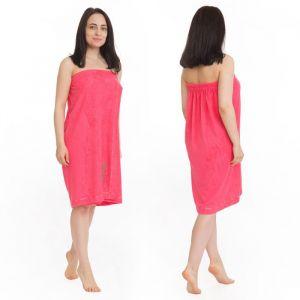 Килт(юбка) женский махровый с вышивкой 80х150см, коралловый