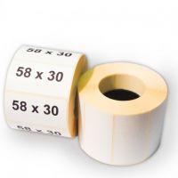 Термоэтикетка 58х30 мм ЭКО (1 рулон = 900 шт) втулка 40 мм