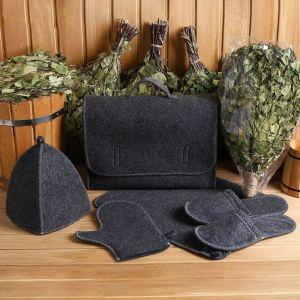 Набор банный портфель 5 предметов, серый + веник берёзовый ЛЮКС 4676190