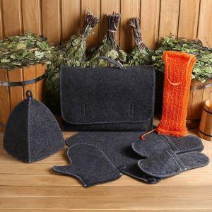 Набор банный портфель 5 предметов, серый + мочалка 4676189
