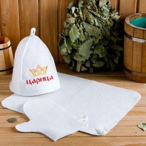 """Набор для бани """"Царица"""" шапка, коврик, рукавица 3268935"""