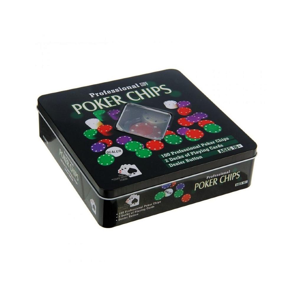 Набор покера на 100 фишек в жестяной коробке с двумя колодами
