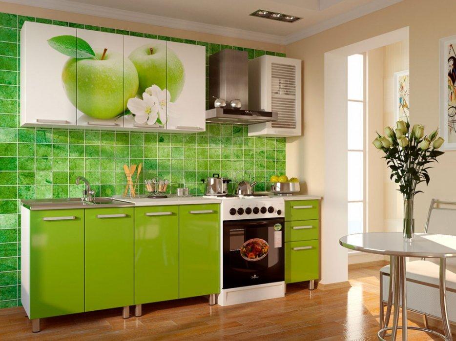 Кухня Яблоко с фотопечатью МДФ 1.8 м