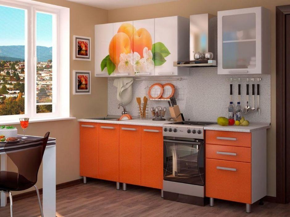 Кухня Персик с фотопечатью МДФ 1.8 м