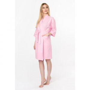 Халат вафельный женский «Экономь и Я» рукав 3/4, цвет розовый р. 46-48, хл 100%, 200 г/м?
