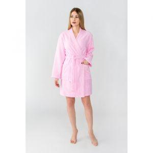 """Халат махровый """"Экономь и Я"""" женский размер 50-52 розовый, 340 г/м2, хл. 100% с AIRO"""