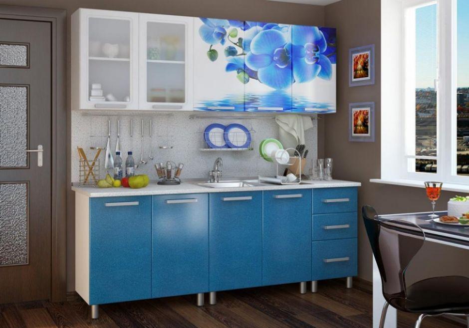 Кухня Люкс Лазурь с фотопечатью МДФ 2.0 м