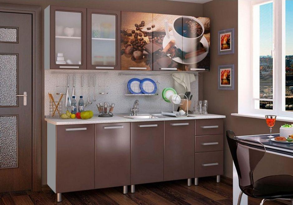 Кухня Люкс Шоколад с фотопечатью МДФ 2.0 м