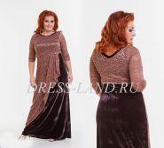 Вечернее платье с бархатной юбкой цвета шоколад