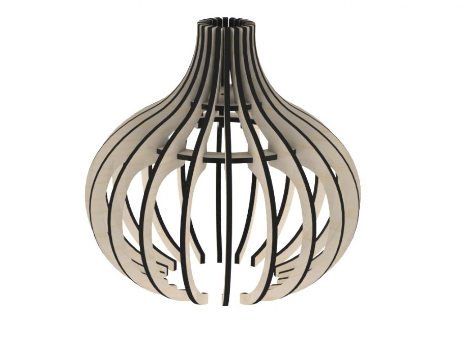 Деревянный светильник подвесной шарообразный вытянутый