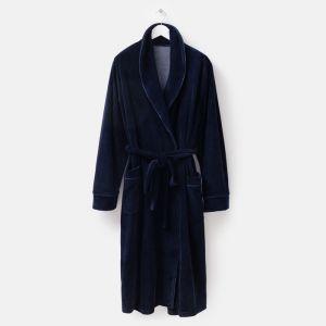 Халат мужской запашной «Мэн», цвет тёмно-синий, размер 60