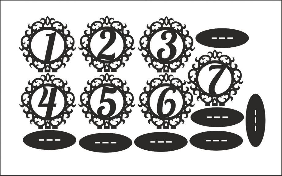 Номера на стол круг ажур