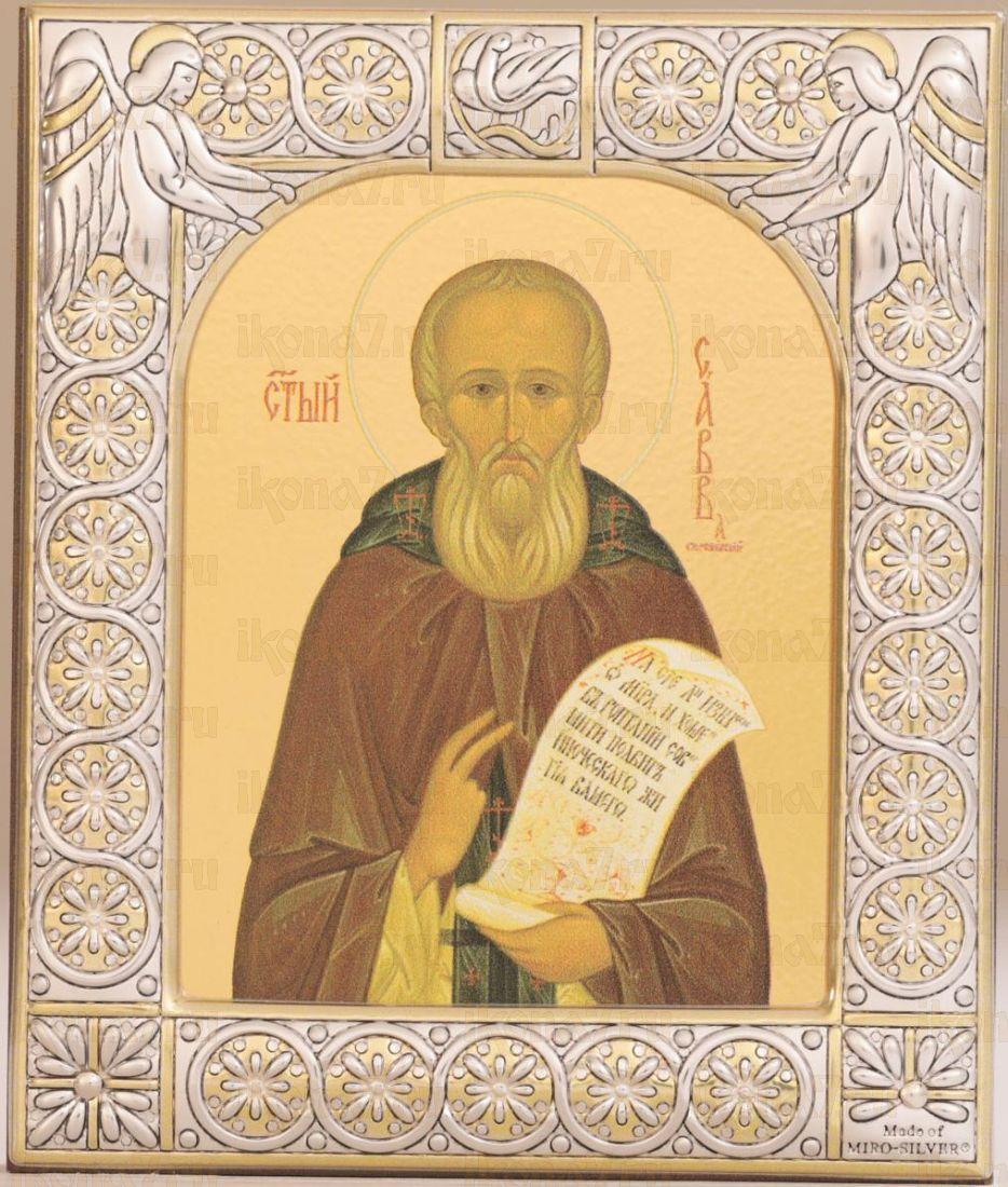 Икона Савва Сторожевский преподобный (9х10,5см)