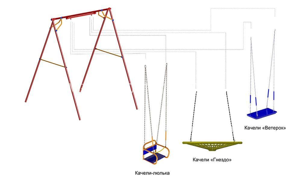 Качели классические на плавном ходу (Подшипниковый узел/ цепной подвес, Качели на Выбор)