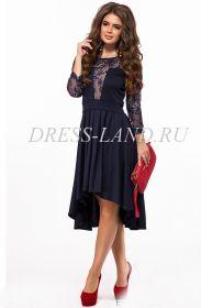Темно-синее нарядное платье