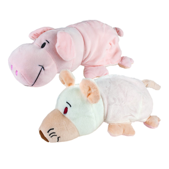1toy игрушка Вывернушка 2в1, 20 см., плюш, символы года, Свинья-Крыса,бирка,пакет