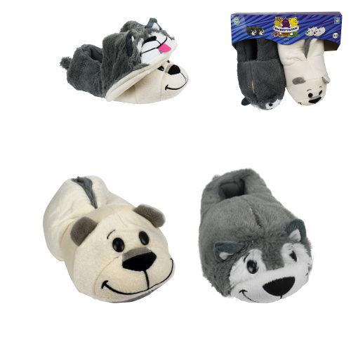 1toy плюш.Вывертапки Хаски-Полярный медведь,детские М,размер 28-30,подвес,пакет