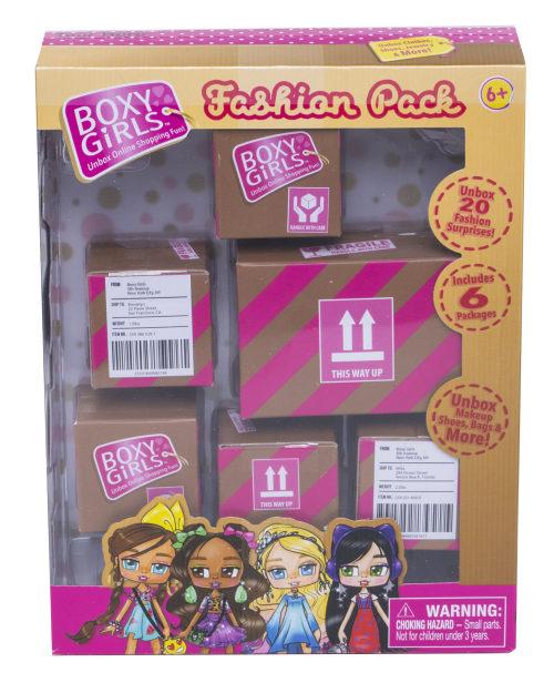 1TOY Игр.наб.из 6 посылок с сюрпризом для кукол Boxy Girls,кор.15х5х19,5 см