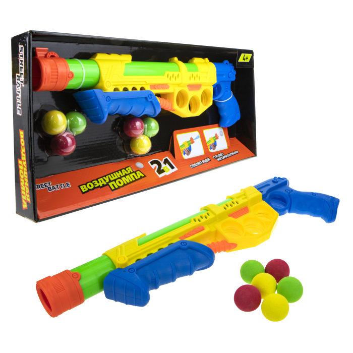 1toy Street Battle игр оружие 2в1 водное с мягкими шариками (43 см, в компл. 6 шар. 2,8 см), коробка