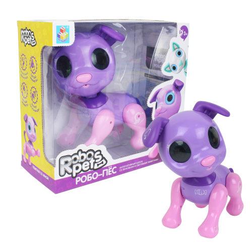 1 toy, интерактивная игрушка Робо- пёс фиолетовый, 3* ААА бат ( не входят), коробка с окном 24,5*23*11 см