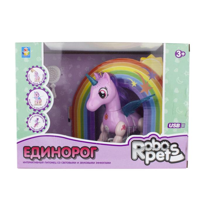 1 toy, интерактивная игрушка Робо-единорог розовый, свет,звук, движение, USB зарядка, коробка с окном 26х19х12 см