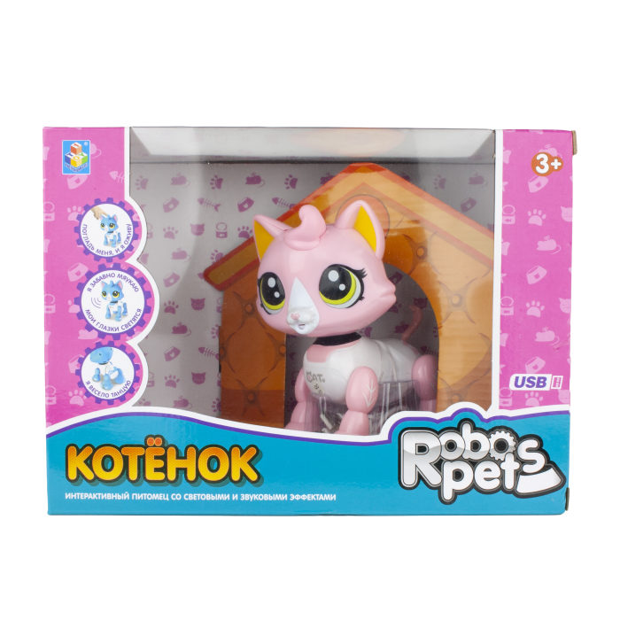 1 toy, интерактивная игрушка Робо-котенок бело-розовый, свет,звук, движение, USB зарядка, коробка с окном 26х19х12 см