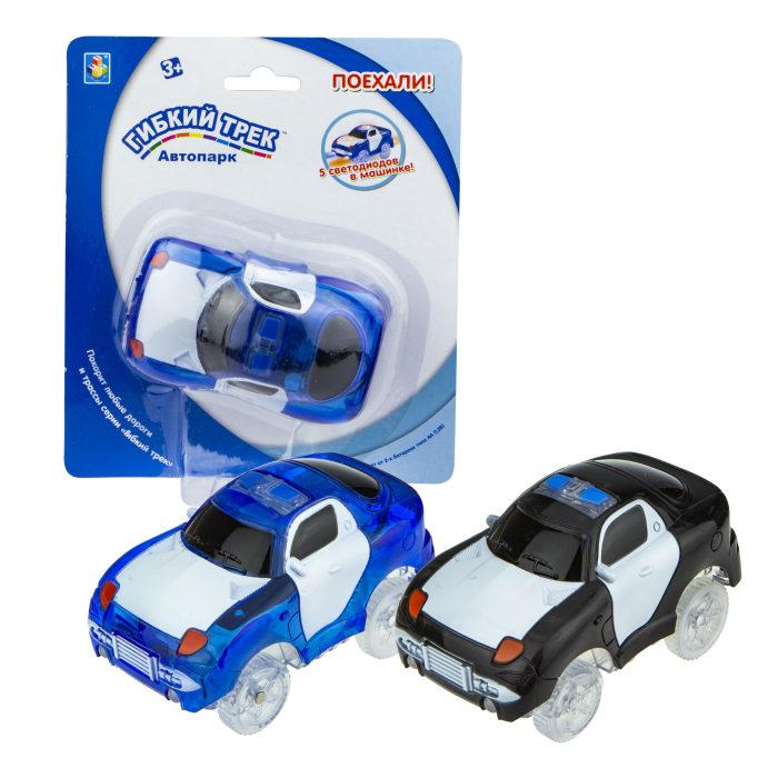 1toy гибкий трек патрульная машина, с 5 ламп., 2 цв. в асс.синий и черный, на блист.,15,5*18см