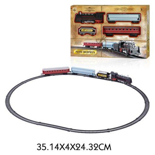 1toy ж/д Ретро Экспресс, свет,звук, паровоз, 3 вагона, 16 деталей, длина путей 85,5х67,5 см