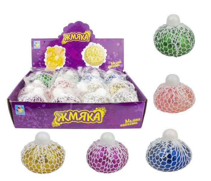 1toy Мелкие пакости, жмяка в сетке с крупными блестками, 7см, 6 цветов, 12шт в д/боксе