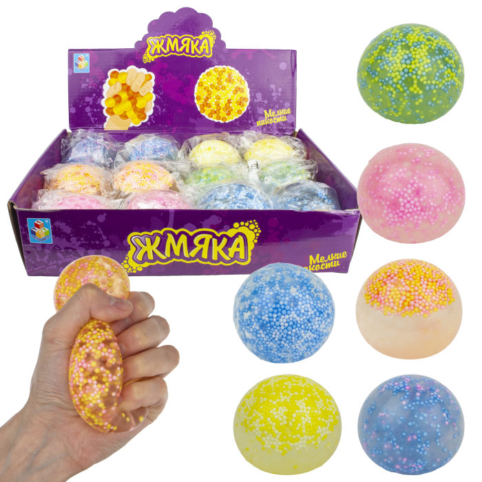 1toy Мелкие пакости, жмяка с разноцветными маленькими шариками и гелем 7 см, 12 шт д/бокс