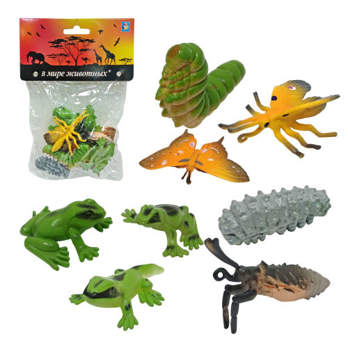 1toy В мире животных: лягушки и бабочки, 8 шт, пакет с хед