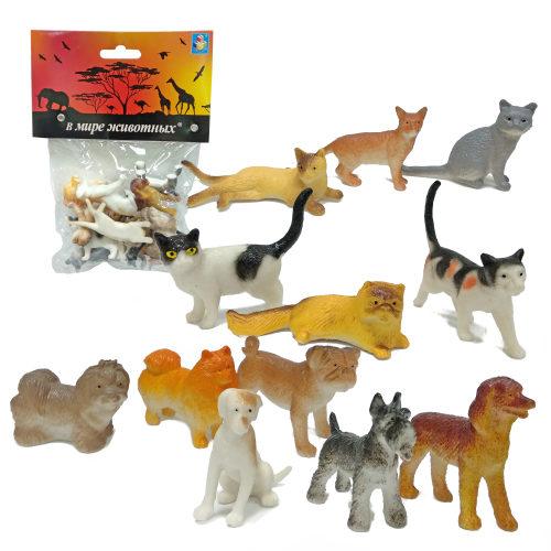 1toy В мире животных наб.игр.собак и кошек 12 шт х 5 см. в упаковке ПВХ с хедером