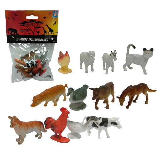 1toy В мире животных наб.игр.животных с фермы 12 шт х 5 см. в упаковке ПВХ с хедером
