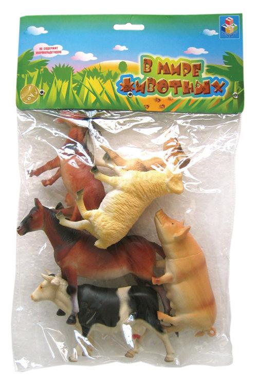 1toy В мире животных наб.игр.животных с фермы 6 шт х 15 см. в упаковке ПВХ с хедером