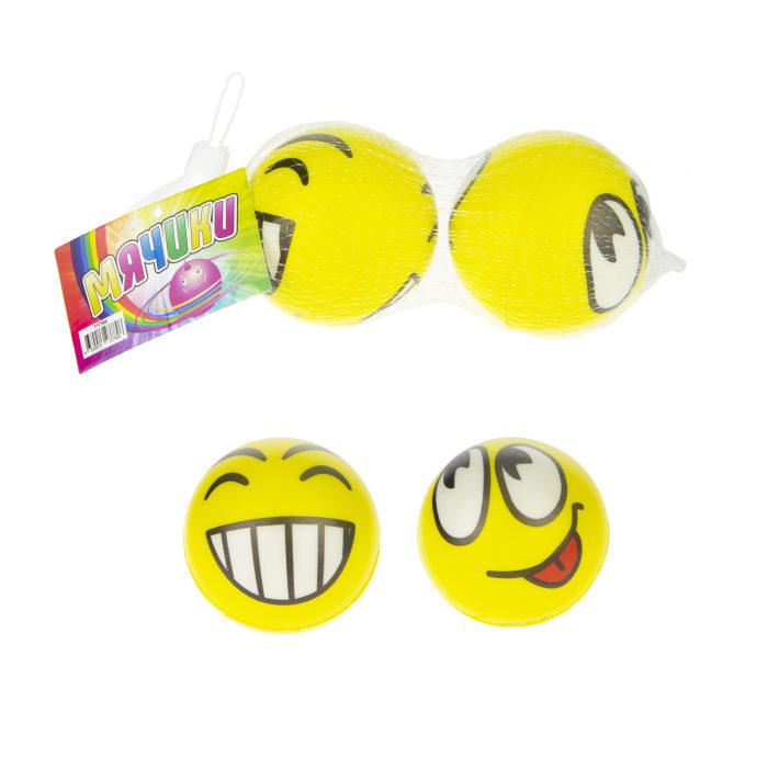 1toy набор мячей PU, смайлик, 7,5 см, 2 шт в сетке с биркой