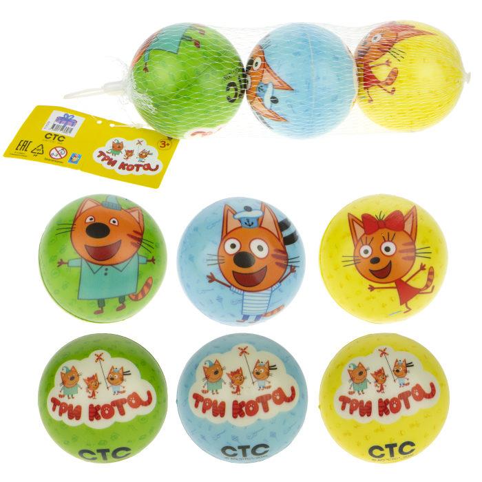 1toy Три Кота мячики PU с принтом , 7,5 см., 3 шт. в сетке