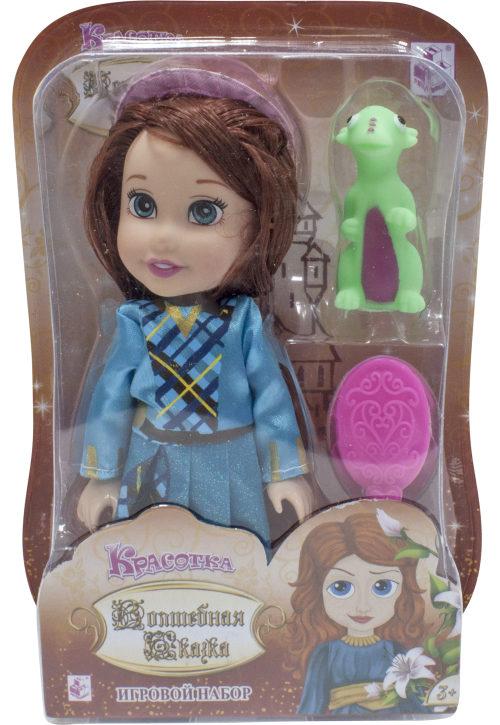 1toy Красотка кукла Волшебная Сказка15 см с ПВХ дракончиком 5см,шляпкой, расческой,13х19х5,5см,блистер
