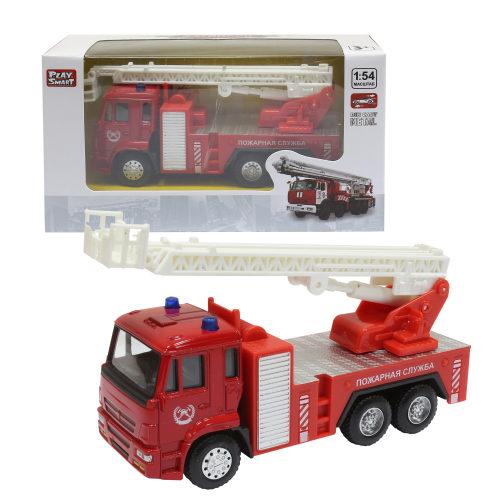 Play Smart 1:54 инерционная металлическая пожарная машина , 17x9x6,5см