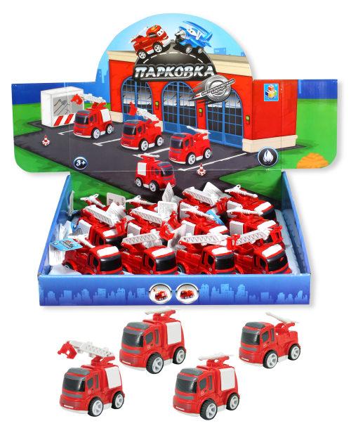 1toy Парковка Пожарная станция, фрикц.машинка, 8см, металл.корпус, 3в в ассорт. ,д/б
