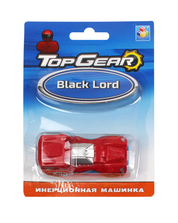1toy Top Gear пласт. машинка Black Lord, инерц. блистер