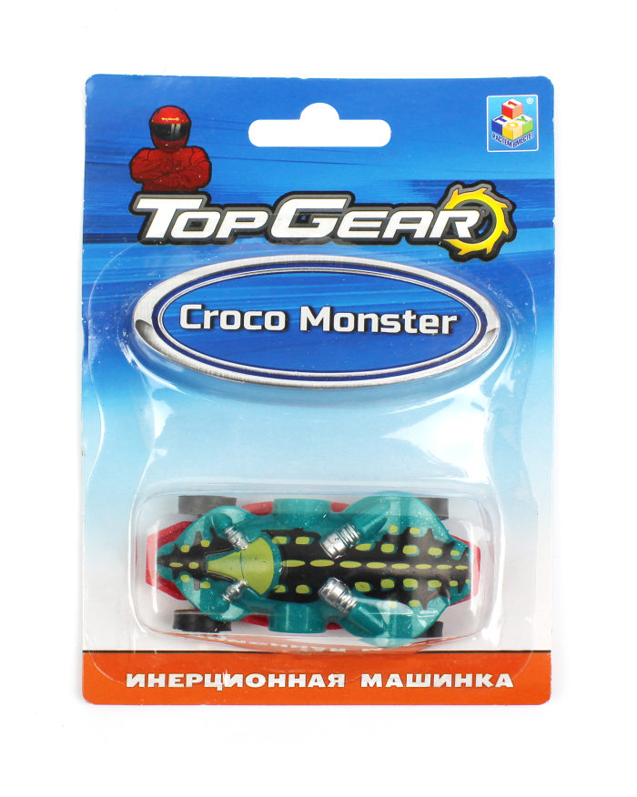 1toy Top Gear пласт. машинка Croco Monster, инерц. блистер