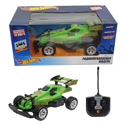 Hot Wheels машинка багги на р/у, масштаб 1:20, макс. скорость - 14км/ч, со светом, на батарейках (не включены), зелёная