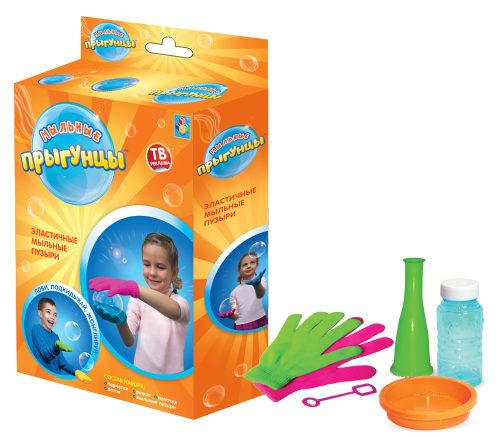 1toy Прыгунцы, эластичные мыльные пузыри, 2 перчатки, ёмкость для раств., рожок, палочка для м.пузырей, 60мл раствор, коробка
