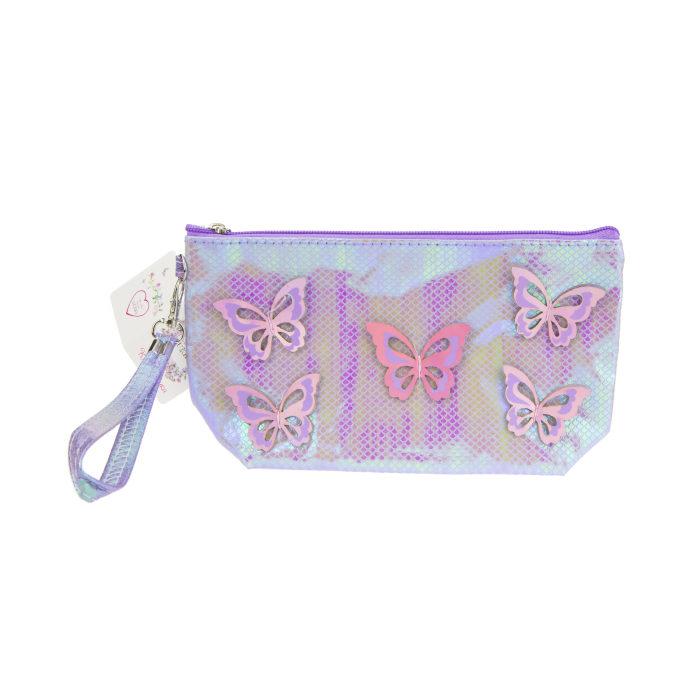 Lukky косметичка с голограф. накладными бабочками сиреневая,24х13 см,бирка,пакет