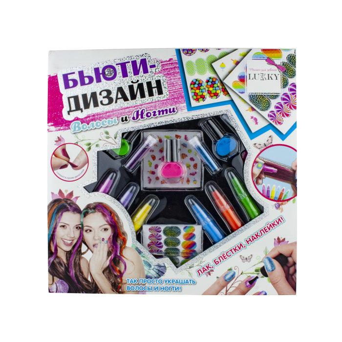 Lukky Бьюти-Дизайн наб.2-в-1 Волосы и Ногти,с лаками peel-off,блестками,пилочкой,стикерами,мини-стикерами,ручками-мелками д.волос,кор.30х30х5,5см