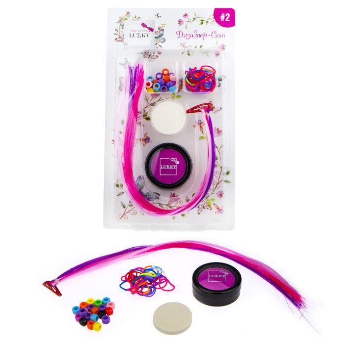 Lukky Дизайнер-Сет #2 наб.д.диз.волос с розов.пудрой д.волос,3 цвет.пряди на заколке,резинки 25 шт.,бусины 25 шт.,спонж,блист.