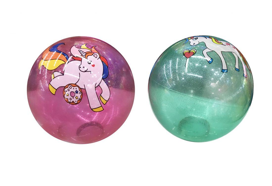 1toy мяч ПВХ 23 см, 60 г, прозрач, блест., деколь, единорог, с сеткой и биркой, 5 цветов в асс.
